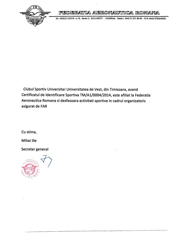 Afiliere Club Motopara UVT la FAR